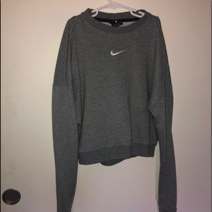 NIKE grey cropped top. (back is open)
